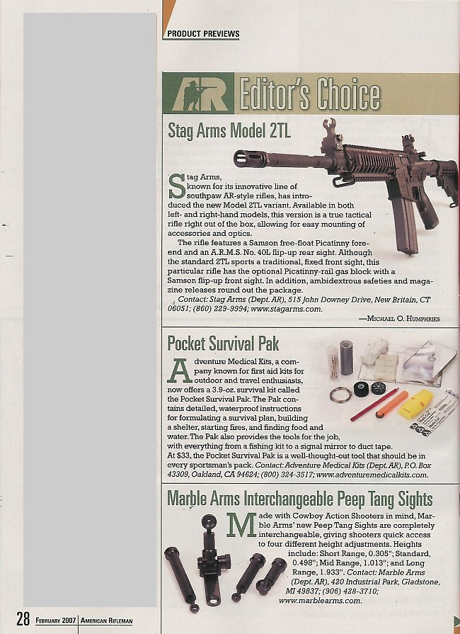 Amercian rifleman february 2007 for List of online retailers